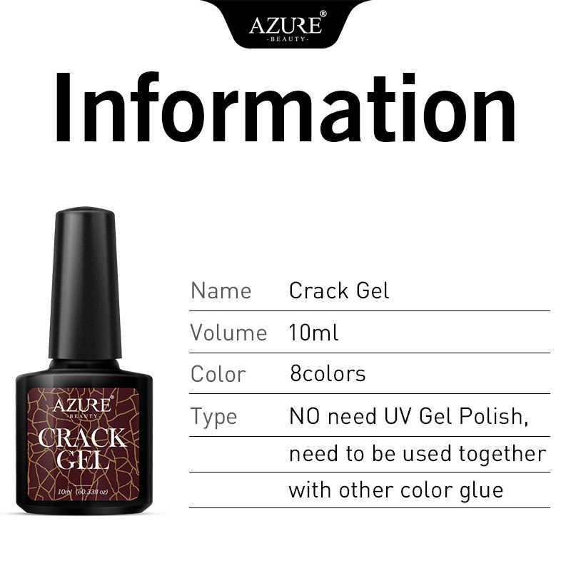 Azure Kecantikan Crackle Nail Art LED Gel Varnish Rendam Off Tahan Lama Uv Gel Crack Nail Gel Lacquer Semi Permanen hybrid Bahasa Polandia