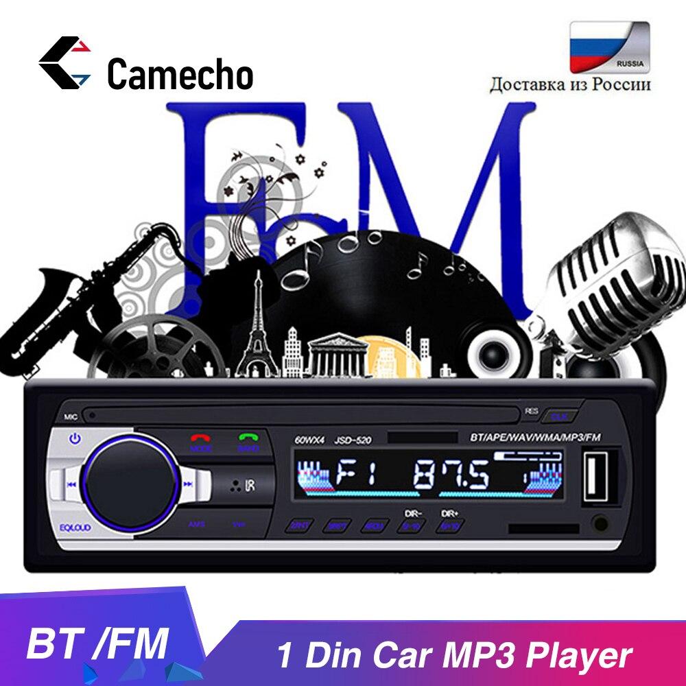 Camecho 1din rádio do carro estéreo de controle remoto bluetooth áudio estéreo 12 v carro mp3 player fm usb/sd um ruído carro multimídia jogador|Reprodutor multimídia automotivo| |  - title=
