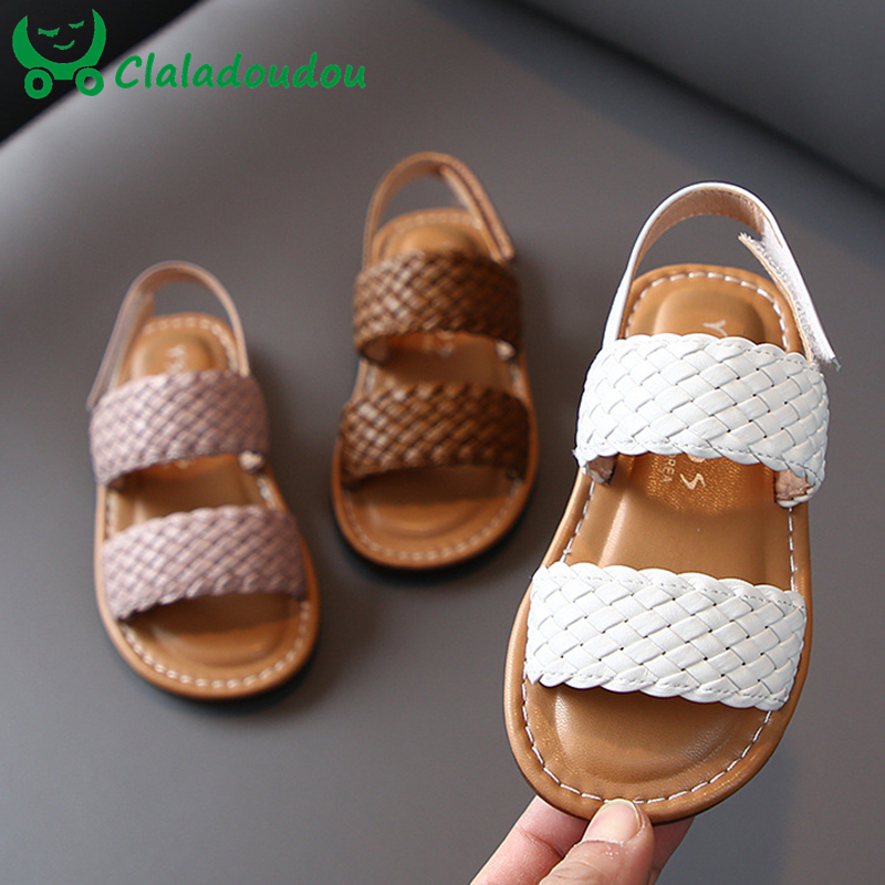 14-19cm Kids Girls Weave Sandals White Brown Solid Soft Toddler Girls Casual Beach Sandals 0-6Years Baby Summer Shoes Flats