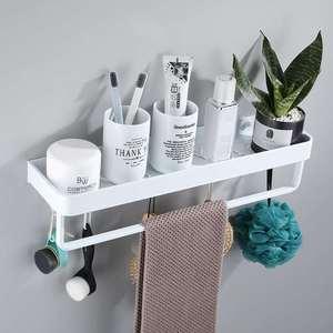 Полка для ванной, полка для душа с полотенцем, белая угловая полка 30-60 см, настенный черный алюминиевый кухонный держатель для хранения