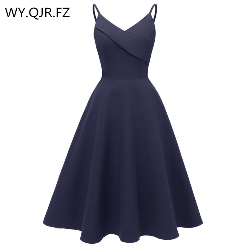 CD1702#cocktail Dresses Sexy Wedding Prom Party Dress With V-neck Sling BURGUNDY Dark Blue Pink Christmas Wholesale Girls Short