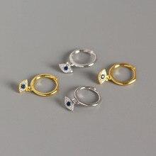 925 Sterling Silver Evil Eye Drop Earrings Blue Zircon Mediterranean Style 2019 Womens Jewelry Charm