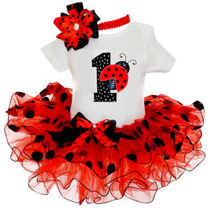 My Baby Girl Clothing Fancy Dot Dress for Girls Baptism Christening Gown 1 Year Girl Baby Birthday Dress Print ladybug Dresses(China)