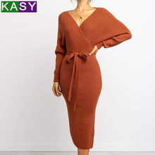 Semi Formal Cable Knit Bodycon Maxi Dress Winter Long Tie Party V neck Caramel Dress Plus Size Bow OL Orange Work Slit Dress(China)