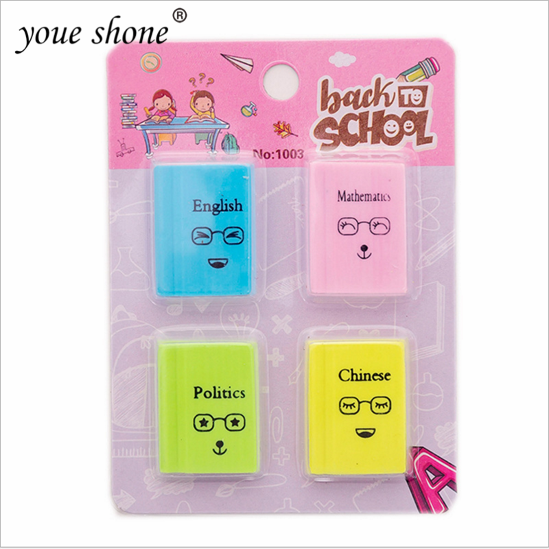 4PCS/Pack Stationery Eraser Cute Cartoon Funny Book Modeling Eraser School Office Supplies Children Gifts Student Stationery