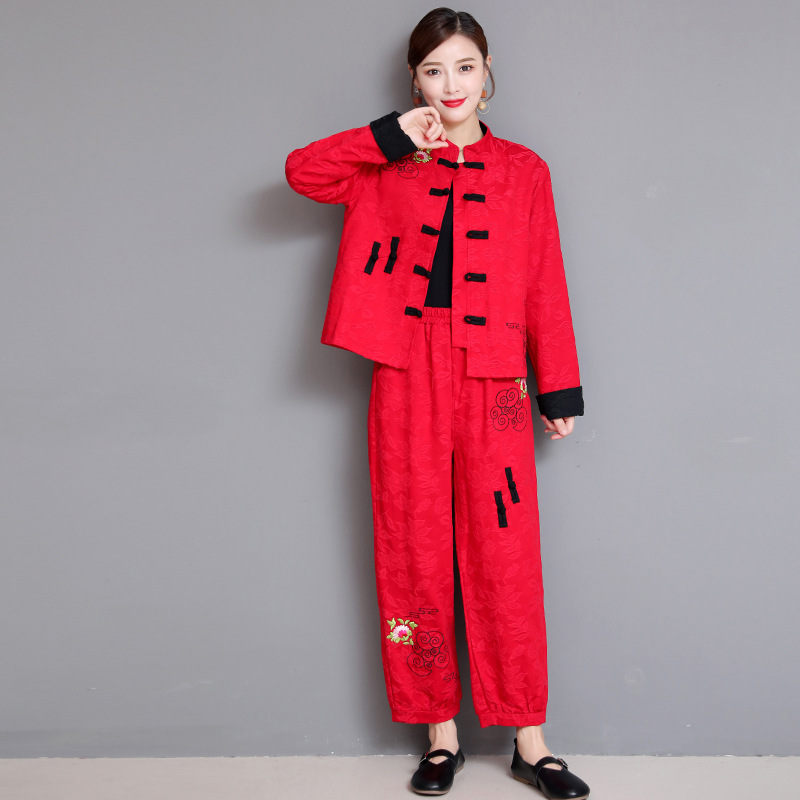 2019 Autumn And Winter New Style Ethnic-Style Embroidered Jacquard Cropped Jacket + Loose Pants Women's Casual Two-Piece Set