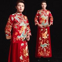Vestido De Novio Hombre Fumo Reale Terno Noivo Colete Gravata 2020 dei Nuovi Uomini di Spettacolo E Vestito Da Cerimonia Nuziale di Stile Cinese brindisi Foto