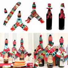 Świąteczny pokrowiec na butelkę wina Mini szalik kapelusz szampan Wine Cover Ornament wesołych świąt nowy rok dekoracja na stół 7 tanie tanio CHIXINHAPPY CGA23199 Bez pudełka