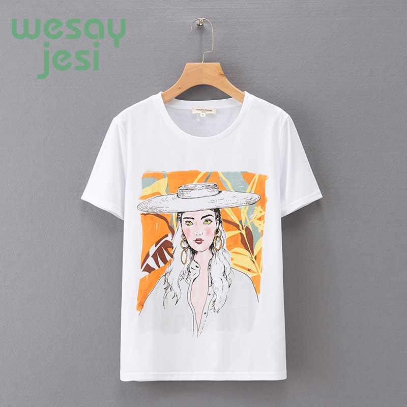 t shirt women england style print cartton regular 2019 new summer cotton t shirt women tops plus size in T Shirts from Women 39 s Clothing