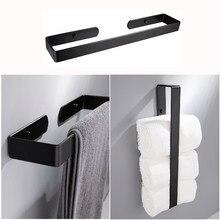 Toallero negro para baño, estante de pared de aluminio, toalla de mano para la cocina, almacenamiento de Bar, organizador del hogar