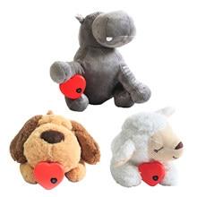 Cão brinquedos de pelúcia confortável brinquedo de pelúcia behavioral training aid brinquedo coração batida calmante pelúcia boneca sono travesseiro brinquedo transporte da gota