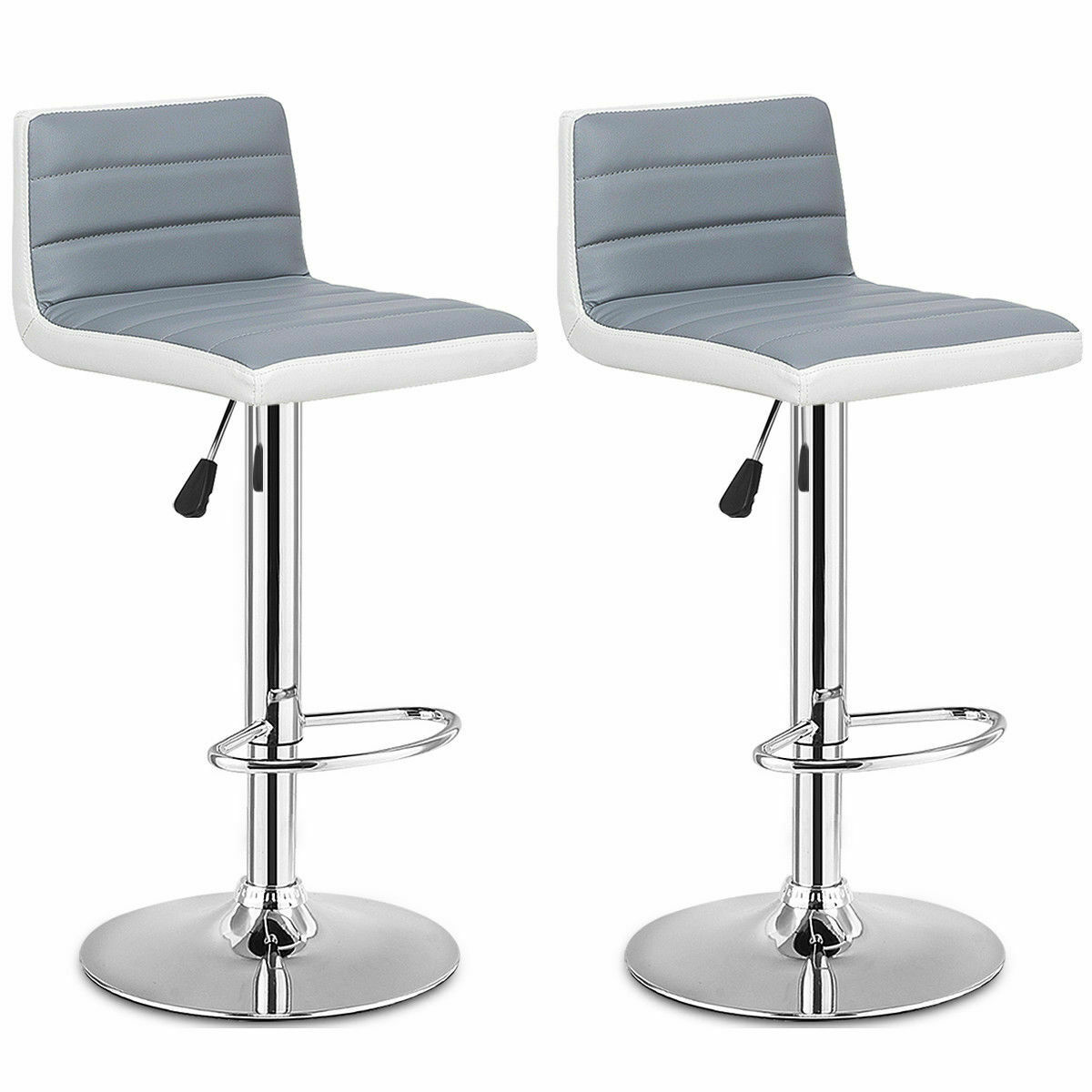 Costway Set Of 2 Bar Stools Adjustable Barstool PU Leather Swivel Pub Chairs Armless