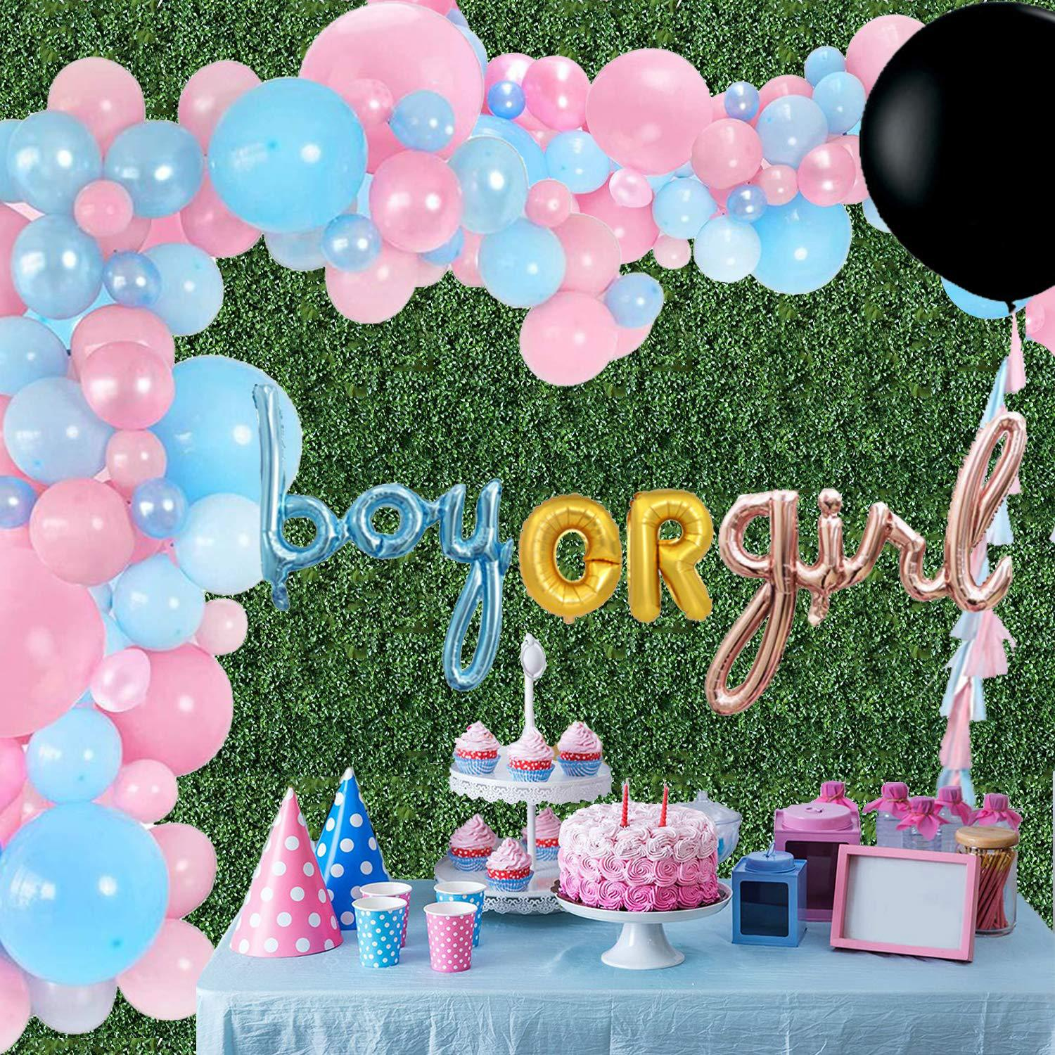 36inch Black Balloon Baby Gender Reveal Party Supplies Hanging Garland Baby Shower Boy Or Girl Foil Balloon Decorations Suit