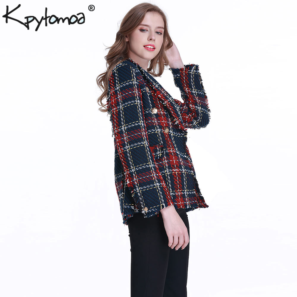 Image 3 - Vintage Double Breasted Frayed Checked Tweed Blazers Coat Women 2019 Fashion Pockets Plaid Ladies Outerwear Casual Casaco Femme-in Blazers from Women's Clothing