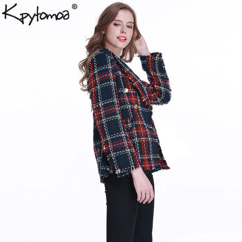 Vintage Double Breasted Frayed Checked Tweed Blazers Coat Women 2019 Fashion Pockets Plaid Ladies Outerwear Casual Casaco Femme Karachi