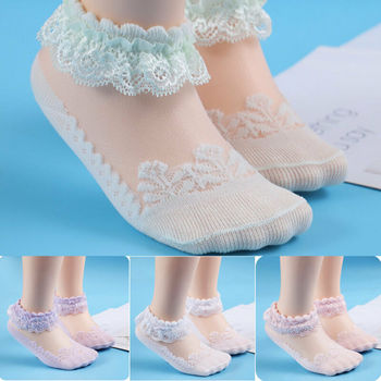 2019 Brand Super Cute Princess Lace Ruffle Frilly Ankle Socks-White New Lace Mesh Baby Girl Socks 0-6Y image