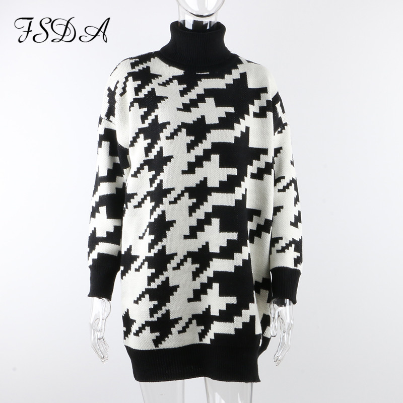FSDA Long Sleeve Autumn Winter Oversized Sweater Dress Women Turtleneck Black Casual Knit Mini Houndstooth Sexy Party Dresses 5