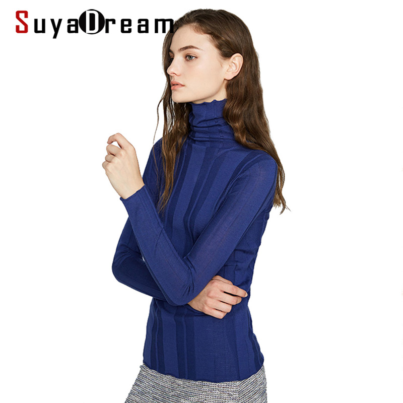 Women Wool Pullovers 100%Wool RIB Knitted Sweater For Women Soft Wool Jumper Pull 2019 Fall Winter Bottoming Knitwear