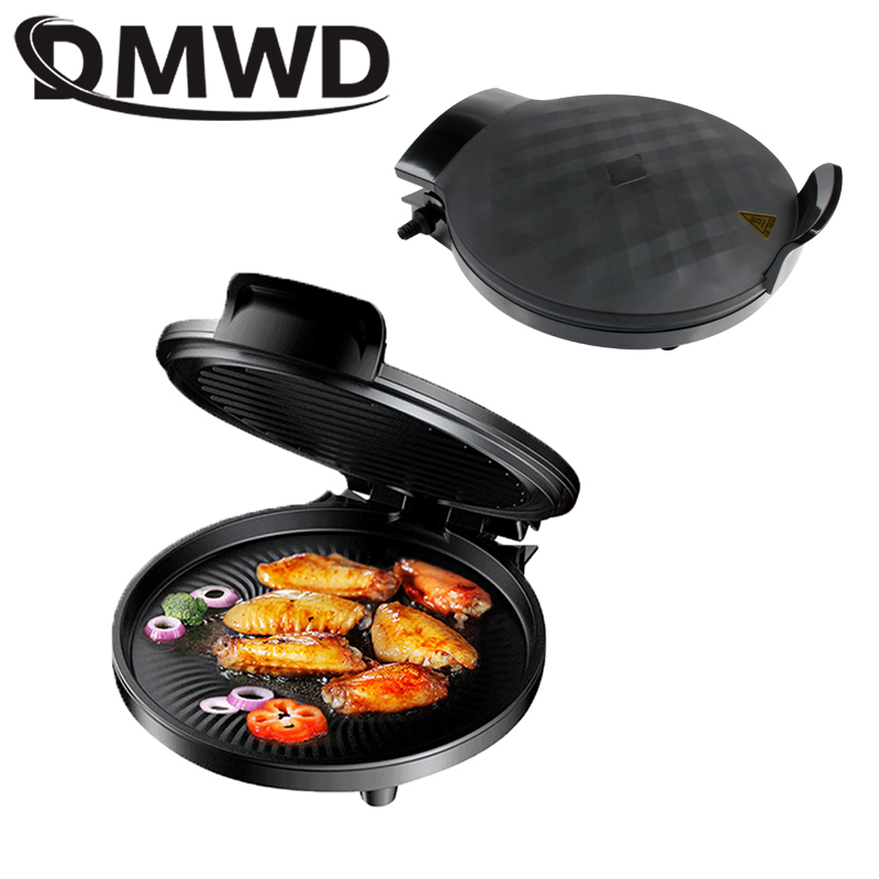 DMWD Multifunction Electric Crepe Maker Double-Plates Heating Steak Frying Pan BBQ Grill Skillet Pancake Pizza Baking Machine EU