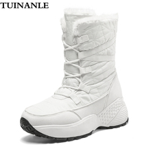 TUINANLE Women Boots Winter Shoes Warm Snow Boots Ladies Mid-calf Plus Size 42 Platform Boots Female Botas Mujer Black Booties