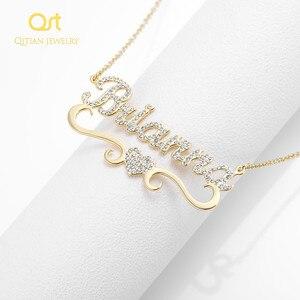 Image 4 - Ожерелье с персонализированным именем и подвеской в форме сердца для женщин, украшения с блестками, сверкающий чокер с инициалом, ожерелье на заказ, рождественский подарок