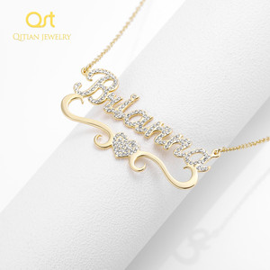 Image 4 - Heart With Personalized Name Necklace&Pendant For Women BlingBling Jewelry Iced Out Initial Choker Custom Necklace Christmas Gif