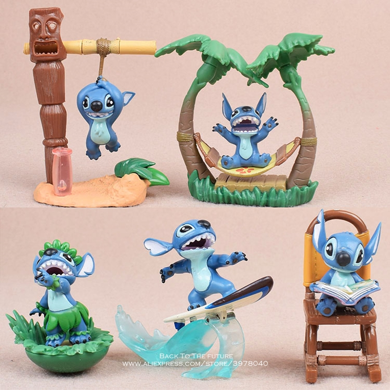 Disney Lilo & Stitch 5pcs/set 5 7cm Action Figure Anime Decoration Collection Figurine mini doll Toy model for children giftAction & Toy Figures   -