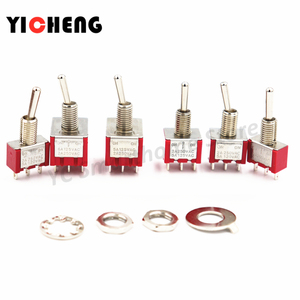 5Pcs MTS Small Red switch rocker switch 2A/125V 5A/250VAC toggle switch SPDT DPDT 3pin/ 6pin /9pin Self-locking/Momentary