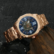 WINNER Official Vintage Fashion Automatic Watch Men Skeleton Mechanical Mens Watches Top Brand Luxury Steel Strap Square Clock