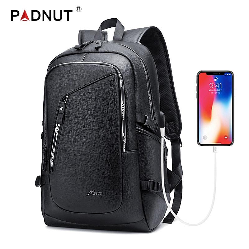 Laptop Leather Backpack Mens 15.6 Inch Notebook Men Bag Pack Waterproof USB Charging Male Bagpack Black Smart Fashion Man Bags