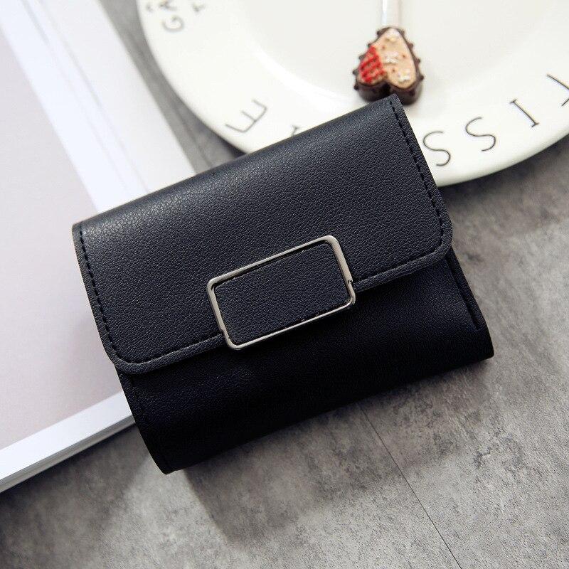 Женские кошельки, Маленький модный брендовый кожаный кошелек для женщин, женская сумка для карт, клатч, Женский кошелек, кошелек с зажимом для денег - Цвет: Square-Black