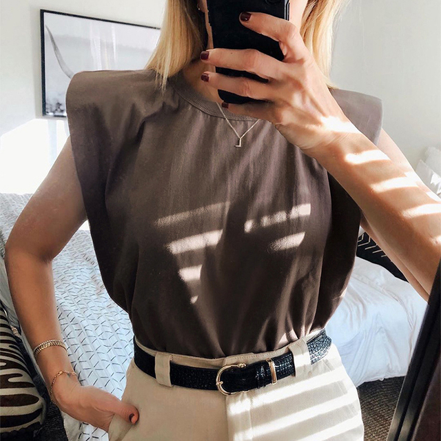 Summer Sleeveless Top Female O Neck White Women Blouse Shirt Ladies Loose solid Chic Casual Blouses Black 2020 Cotton Brown 2