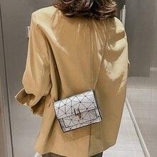 Korean Version Geometric Bag Women 2020 Wild Crack Printing Messenger Bag Luxury Brand Handbag Chain Leather Chain Shoulder Pack