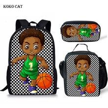 KOKO CAT Black African Boys School Bags for Kids 3pcs/set Sc