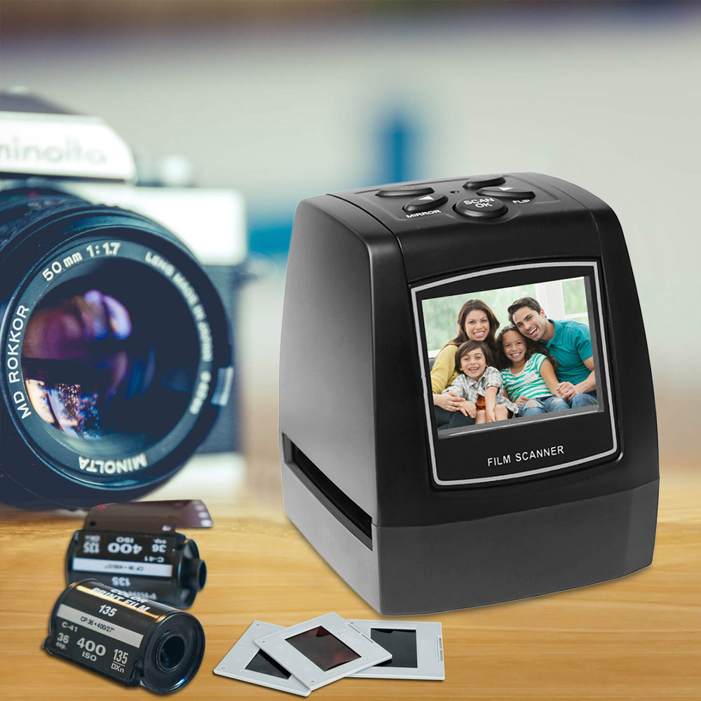 "Negative Film Scanner 35mm 135mm Slide Film Converter Photo Digital Image Viewer With 2.4"" LCD Build-in Editing Software"