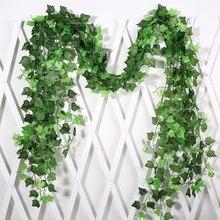 1.8M Artificial Ivy Leaf Garland Plants Vine Simple Fake Foliage Flowers Home Decor Plastic Artificial Flower Rattan string