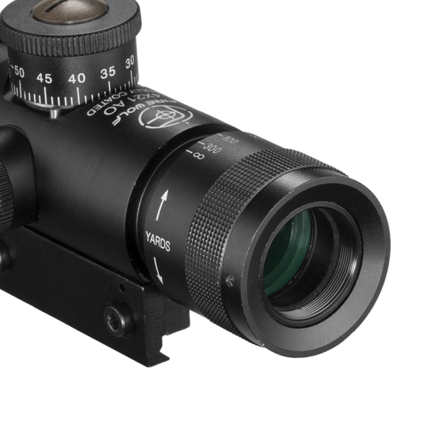 FIRE WOLF 4x21 Compact Hunting Air Rifle Scope Tactical Optical Sight Glass Etched Reticle Riflescopes With Flip open Lens Caps 5