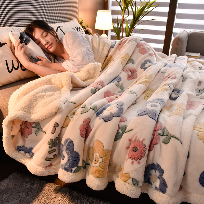 Double Layer Blanket Thick Man-made Lamb Wool Winter Nap Covering Coral Fleece Warm Flannel Duvet Cover Quilt Cozy Comfortable