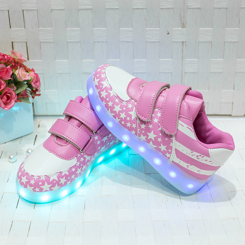 Shallow Blue Child LED Geometric Shoes Non Slip Casual Luminous Leisure Travel Novelty Girl Boy Flat Shoes Walking Footwear in Sneakers from Mother Kids