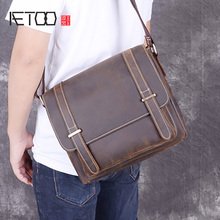 AETOO Cowskin sloping bag, mad horse leather men's shoulder bag, casual personality leather retro bag, trend men's postman bag недорого