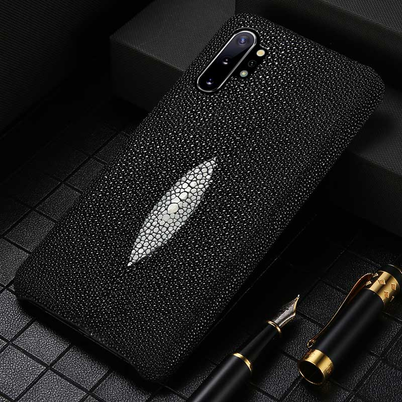 Genuine Pearl Gourami Leather Phone Case For Samsung Galaxy S20 Ultra Note 10 9 A50 A51 A70 A80 A30 S7 S8 S9 S10 S20 Plus Cover