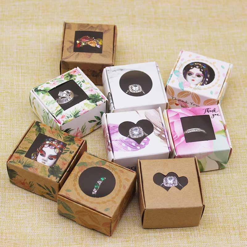 Подарочная коробка «сделай сам» для подарка, Рождественская коробка с окном 4*4*2,5 см, белая/крафт коробка для ювелирных украшений, 10 шт., 10 шт., внутри губка|Подарочные сумки и упаковка|   | АлиЭкспресс