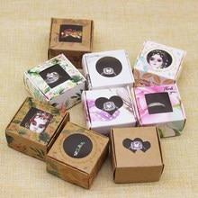 DIY  Handmade gifts package box christmas box with window 4*4*2.5cm white/kraft jewelry ring box 10pcs with10pcs sponge inside