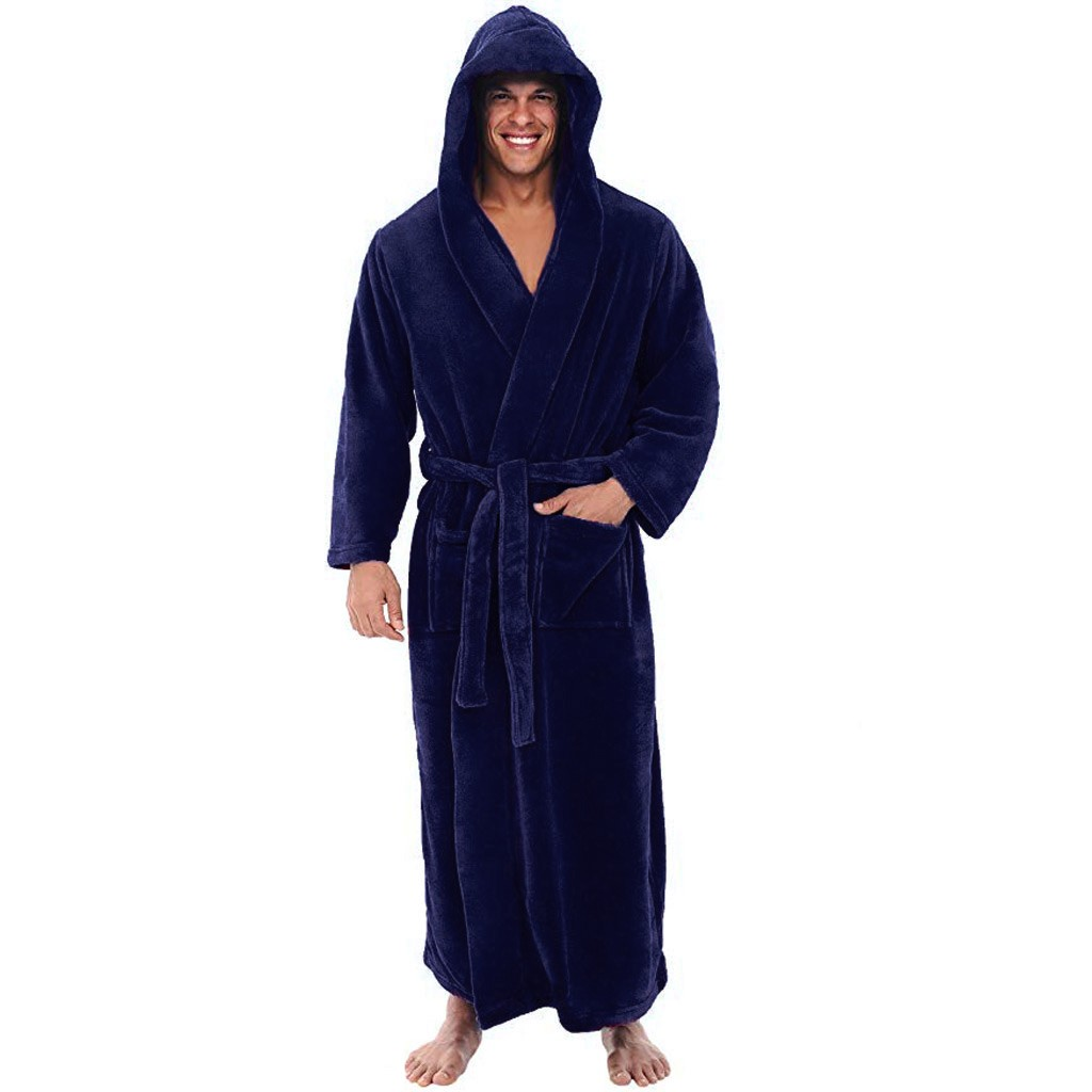 WOMAIL Mens Solid Winter Lengthened Bathrobe Plush Shawl Home Clothes Long Sleeved Robe Coat Soft Handfeel Bathrobe Pajama