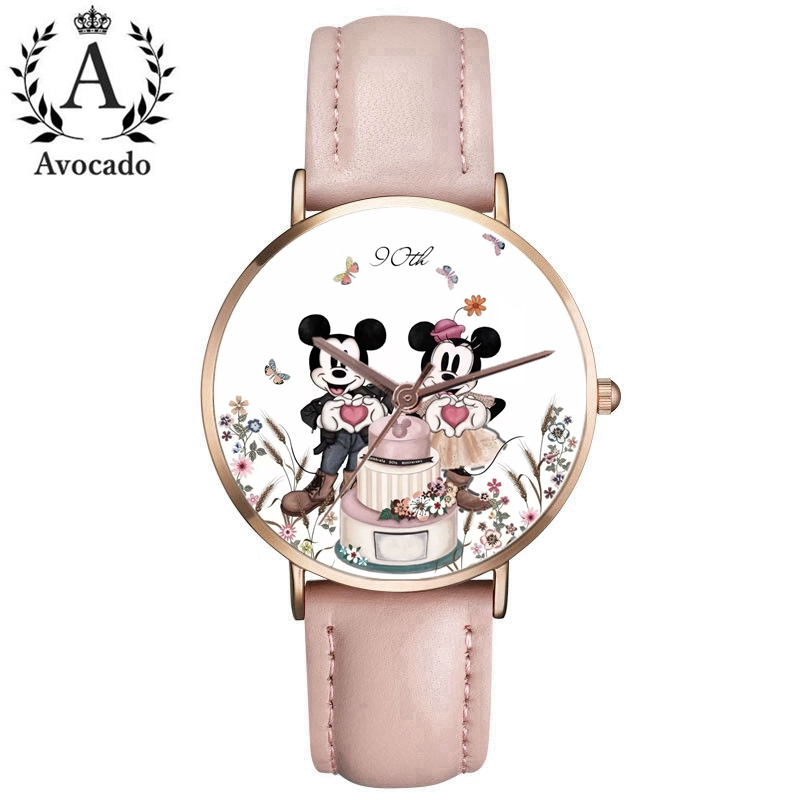90th Anniversary Minnie Watch Women Quartz Watch Leather Ladies Watches Kobiet Zegarka Reloj Mujer Kids Clock Fashion Gift