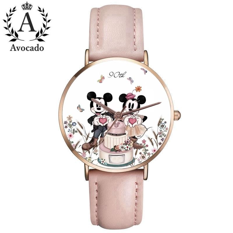 90th Anniversary Minnie Watch Women Quartz Watch Leather Ladies Watches Kobiet Zegarka Reloj Mujer Kids Clock Fashion Gift