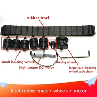 A Set Rubber Track Metal Stainless Steel Load bearing Wheel Drive Wheel Chain Robot Tank Chassis Kit Large Load with DC Motor