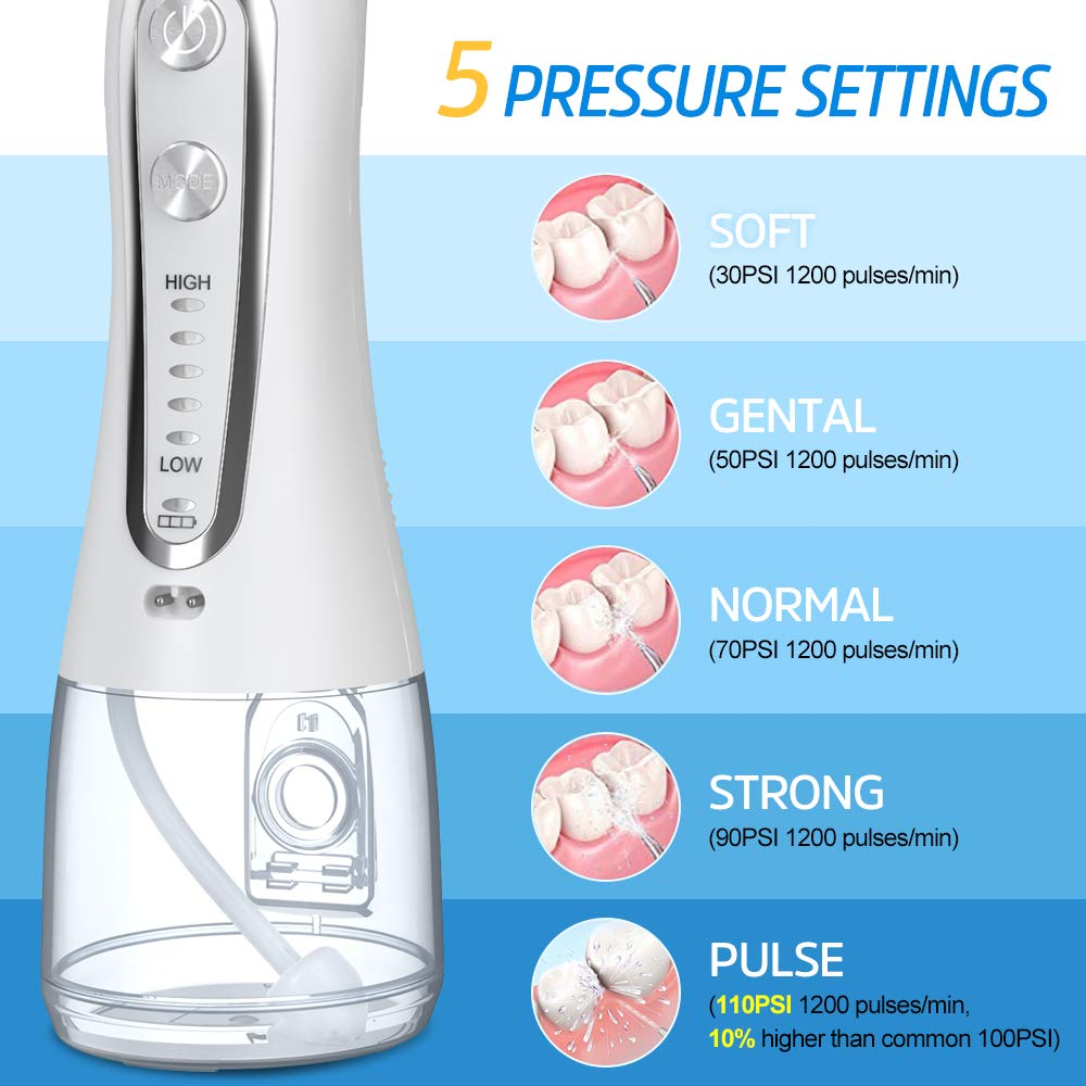 Image 5 - Oral Irrigator 5 Modes Portable 240ml Dental Water Flosser Jet USB Rechargeable Irrigator Dental Water Floss Tips Teeth Cleaner-in Oral Irrigators from Home Appliances