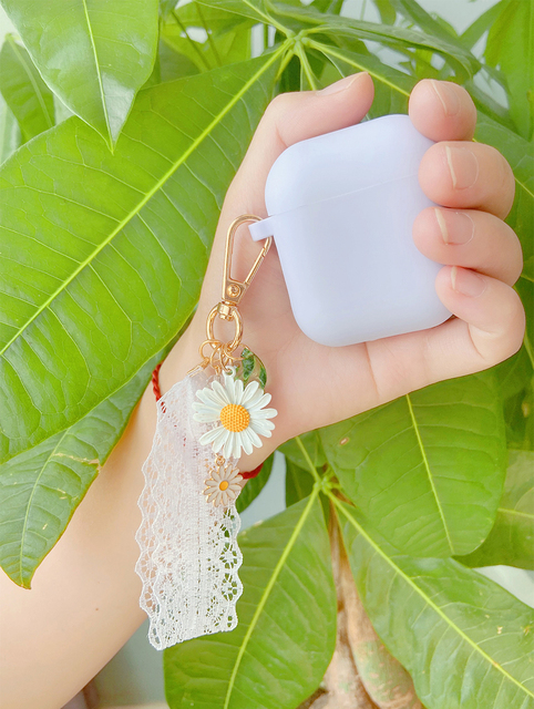 Luxury Cute Korean Flower Decoration Case for Apple Airpods Case ornament Accessories Bluetooth Earphone Silicone Cover Key Ring 5