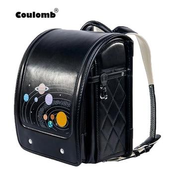 Coulomb Children Black Backpack For Boy School Bag  Hasp Character Orthopedic Randoseru Japanese  Bags PU Kid Backpacks Size S frommer s® japanese phrasefinder